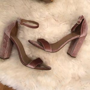 Blush Velvet Block Heel Strappy Sandal